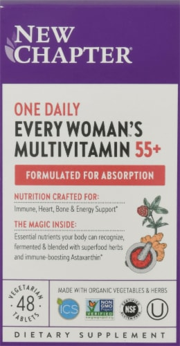 New Chapter Every Woman's One Daily 55 + Multi Vegetarian Tablets Perspective: front