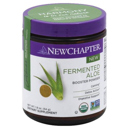New Chapter Organic Fermented Aloe Booster Powder Dietary Supplement Perspective: front