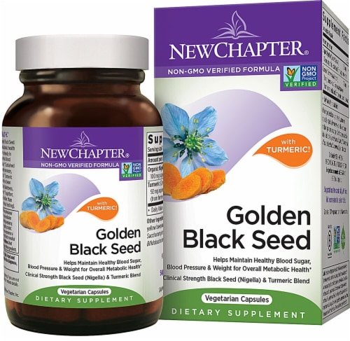 New Chapter Golden Black Seed with Turmeric Dietary Supplement Vegetarian Capsules Perspective: front