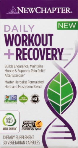 New Chapter Daily Workout + Recovery Dietary Supplement Capsules Perspective: front