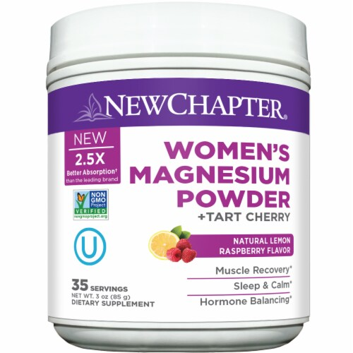 New Chapter Women's Natural Lemon Raspberry Flavor Magnesium Powder Perspective: front