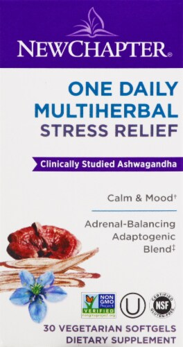 New Chapter One Daily Multiherbal Stress Reiief Vegetarian Softgels Perspective: front
