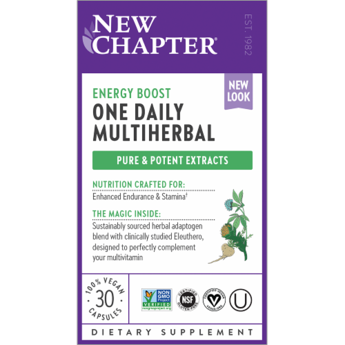 Nrew Chapter One Daily Multiherbal Energy Boost Vegan Capsules Perspective: front