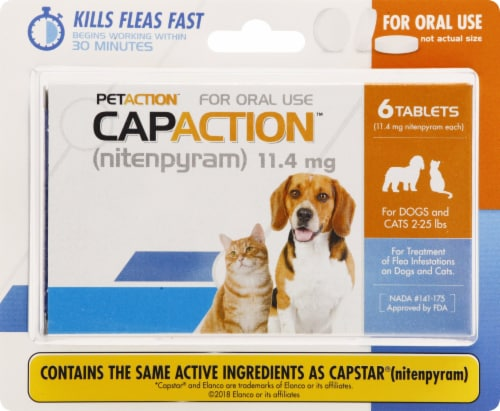 CapAction Small Dog Flea Treatment Tablets 11.4mg Perspective: front