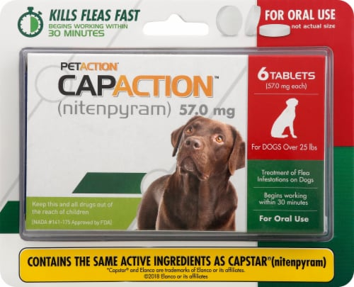 CapAction Large Dog Flea Treatment 57mg Tablets 6 Count Perspective: front