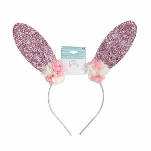 Glitter Bunny Ears Headband - Pink Perspective: front