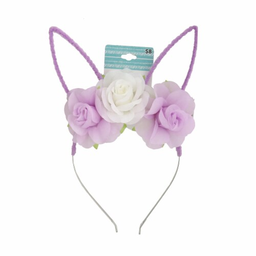 Floral Bunny Headband - Purple/White Perspective: front