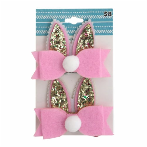 Glitter Easter Barrettes - Pink/Gold Perspective: front