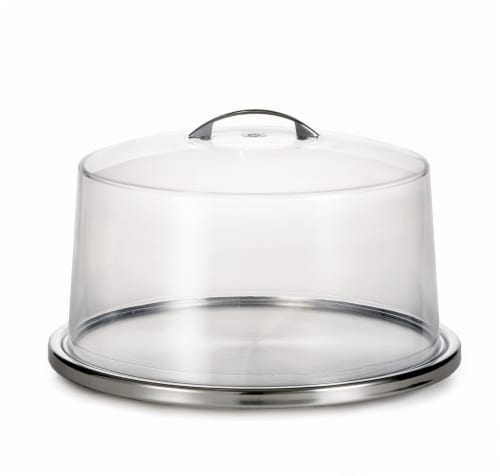 TableCraft Cake Plate and Cover Set - Clear/Silver Perspective: front