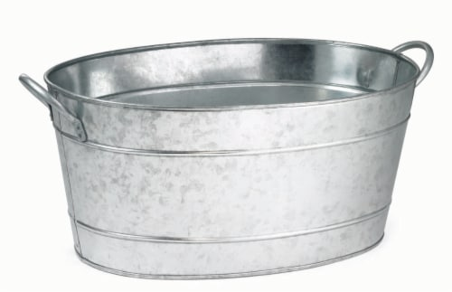 Galvanized Steel Oval Beverage Tub Perspective: front