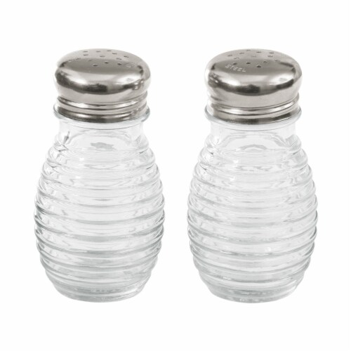 Tablecraft Beehive Salt and Pepper Shakers - Clear/Silver Perspective: front
