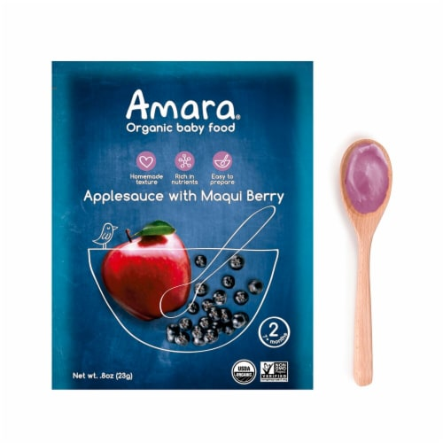 Amara  Organic Baby Food   Applesauce with Maqui Berry Perspective: front