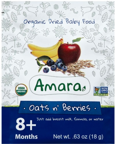 Amara Organic Oats n' Berries Baby Food Perspective: front