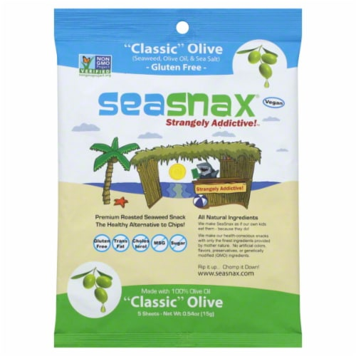 SeaSnax Classic Olive Premium Roasted Seaweed Snack Perspective: front