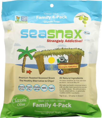 Seasnax Premium Roasted Seaweed Family 4-Pack Perspective: front