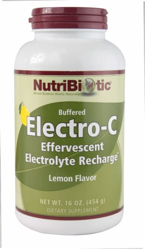 NutriBiotic Lemon Flavor Buffered Electro-C Effervescent Electrolyte Recharge Perspective: front