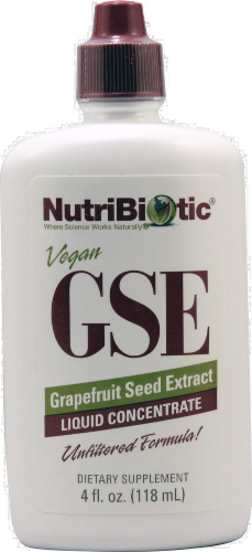NutriBiotic Vegan Grapefruit Seed Extract Liquid Concentrate Dietary Supplement Perspective: front