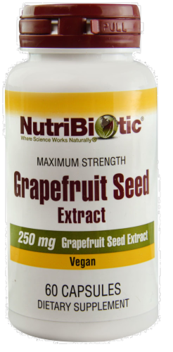 NutriBiotic Grapefruit Seed Extract Vegan Dietary Supplement Capsules 250mg Perspective: front