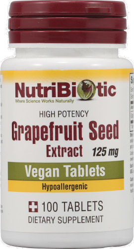 NutriBiotic Grapefruit Seed Extract Dietary Supplement Vegan Tablets 125mg Perspective: front