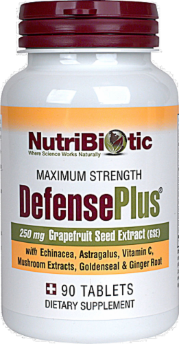 NutriBiotic Defense Plus Grapefruit Seed Extract Dietary Supplement Vegan Tablets 250mg Perspective: front