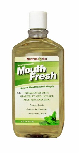NutriBiotic  Mouth Fresh Mouthwash   Peppermint Perspective: front