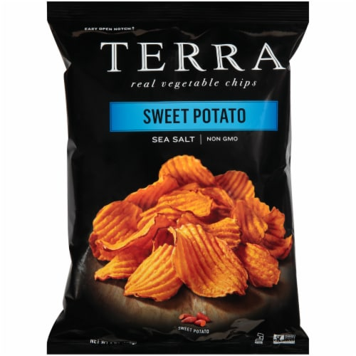 Terra Sea Salt Krinkle Cut Sweet Potato Vegetable Chips Perspective: front