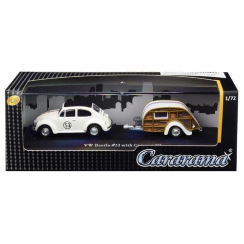 Cararama 12812M Volkswagen Beetle Racing No.53 with Caravan III Travel Trailer in Display Sho Perspective: front