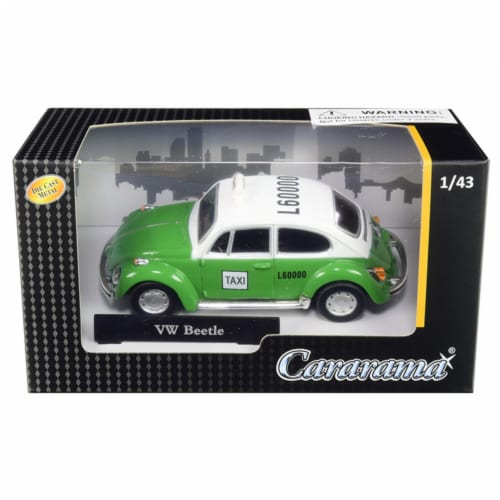 Cararama 41547 Volkswagen Beetle Taxi Green & White 1 by 43 Diecast Model Car Perspective: front
