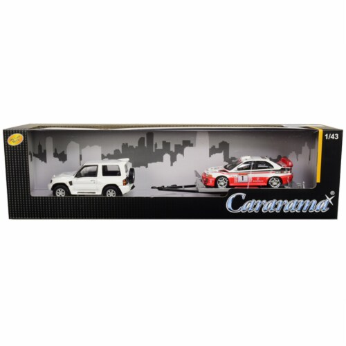 Cararama 48130M Mitsubishi Pajero Evolution White with Trailer & Mitsubishi Lancer Evolution Perspective: front