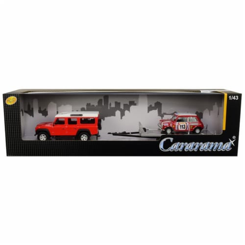 Cararama 48131M Land Rover Defender 110 Red & White Top with Trailer & Mini Cooper No.113 Bri Perspective: front