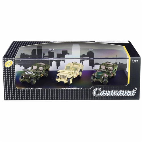 Cararama 71314M 1 by 4 Ton Military Vehicles Set of 3 Pieces in Display Showcase .14 .2 Dieca Perspective: front