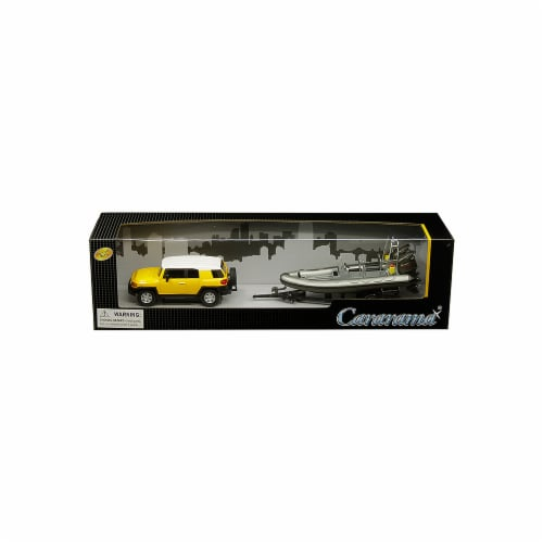 Cararama 48115 1 by 43 Scale Diecast Yellow with Speed Boat with Trailer for Toyota FJ Cruise Perspective: front