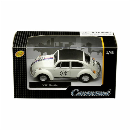 Cararama 41184 1 by 43 Scale Diecast for Volkswagen Beetle No 53 Model Car, White Perspective: front