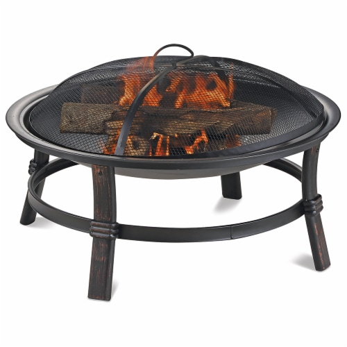 Endless Summer Brushed Copper Wood Burning Outdoor Fire Pit Perspective: front
