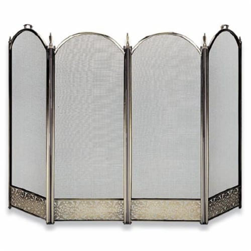 UniFlame S-4645 4 Fold Antique Brass  Screen w - Decorative Filigree Perspective: front