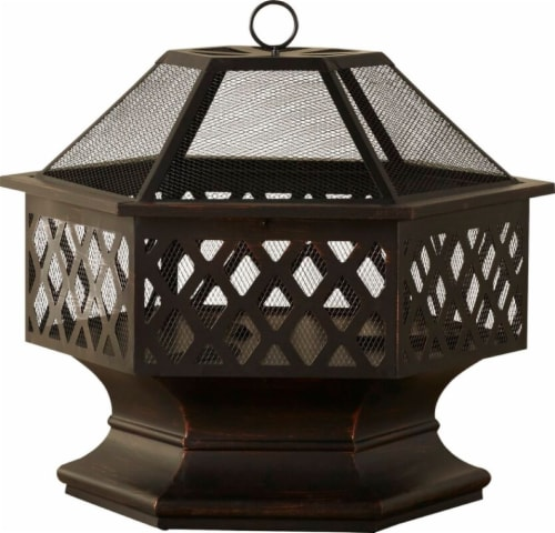Fire Island Lattice Design Wood Burning Outdoor Fire Pit Perspective: front