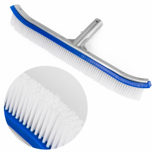 """18"""" Curved Swimming Pool Spa Nylon Wall & Floor Brush Stainless Steel Back Perspective: front"""