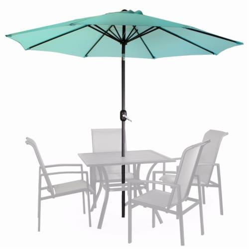 9Ft Outdoor Patio Umbrella Market Table Yard Garden w/ Crank Tilt, Aqua Perspective: front