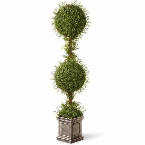 National Tree Company 60 Inch Double Ball Topiary Artificial Plant w/ Gray Pot Perspective: front