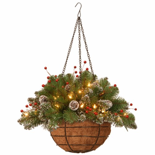 National Tree GLM1-300-20H-B1 Glittery Mountain Spruce Hanging Basket, 20 in. Perspective: front