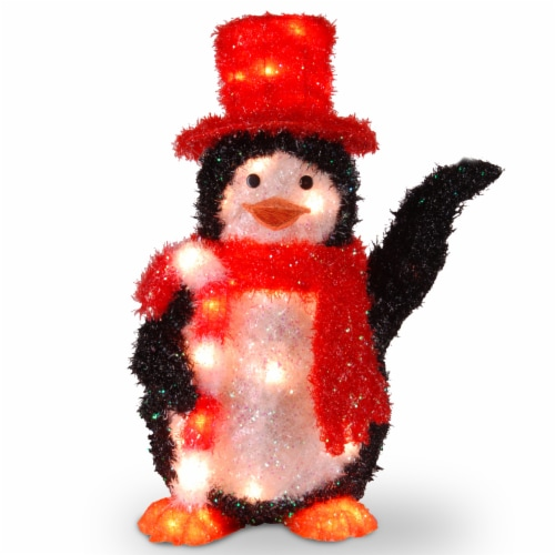 "22"" Tinsel Penguin with Candy Cane with 35 Clear Indoor/Outdoor Lights Perspective: front"