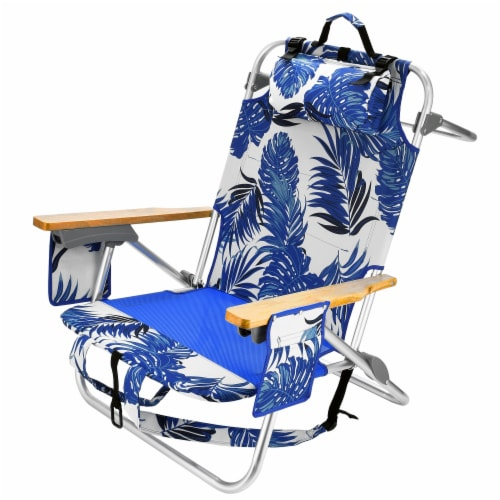 National Tree ZO46-BWD2047M-1 26 in. 5-Position Folding Backpack Beach Chair, Blue & White Perspective: front