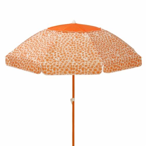 7 ft. Deluxe Beach Umbrella, Orange Flowers Perspective: front