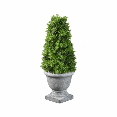 National Tree Company 12 Inch Cone Topiary Artificial Plant w/ Gray Ceramic Pot Perspective: front