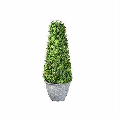 National Tree Company 16 Inch Cone Topiary Artificial Plant w/ Gray Ceramic Pot Perspective: front