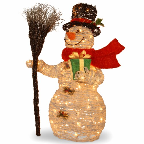 "35"" White Ratton Snowman Holding Gift and Broom with 70 Clear Outdoor Lights Perspective: front"