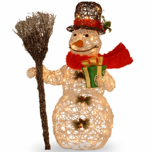 "27"" White Ratton Snowman Holding Gift and Broom with 50 Clear Outdoor Lights Perspective: front"