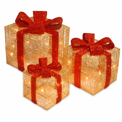 Set of 3 Gold Thread Giftbox with Holly & 35 Clear Indoor/Outdoor Lights Perspective: front