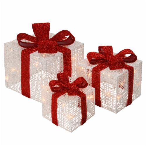 Set of 3 White Thread Giftbox  with 35 Clear Indoor/Outdoor Lights Perspective: front