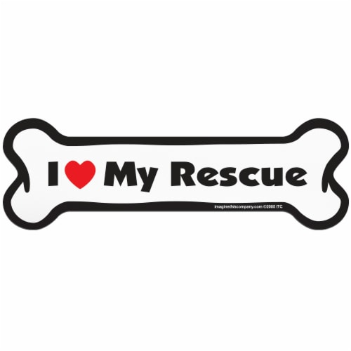 Imagine This I Love My Rescue Bone Shaped Pet Magnet Perspective: front